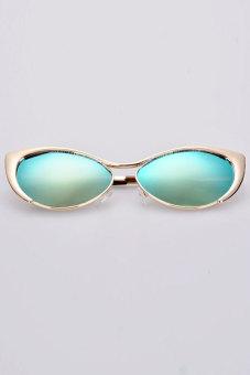 Linemart Women Super Cute Full Frame Reflective Sunglasses (Green)