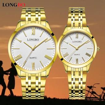 LONGBO 80265 Couple Stainless Steel Strap Simple Fashion Casual Quartz Watch (Gold)
