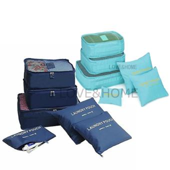 LOVE&HOME 6 in 1 Secret Pouch Travel Organizer Set (DarkBlue,Sky Blue) Set Of 2