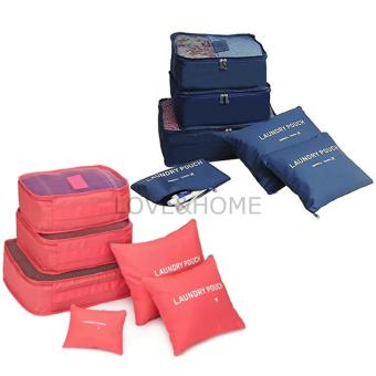 LOVE&HOME 6 in 1 Secret Pouch Travel Organizer Set (PeachPink,Dark Blue) Set Of 2