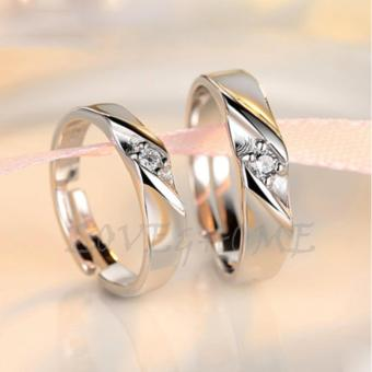 LOVE&HOME Adjustable Silver Lover Promise Couple Ring JZ-12