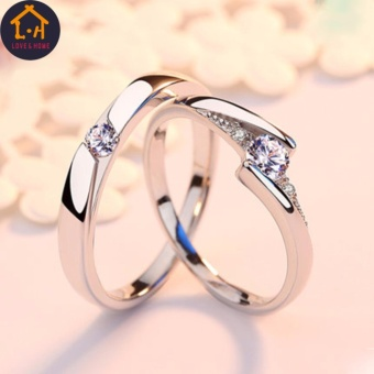 LOVE&HOME Romantic 925 Sterling Silver Zircon Diamond LoverCouple Rings