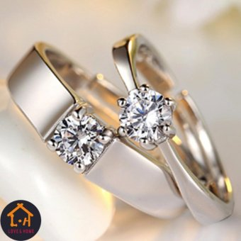LOVE&HOME Silver Adjustable Couple Rings Jewelry AffectionateLovers Rings