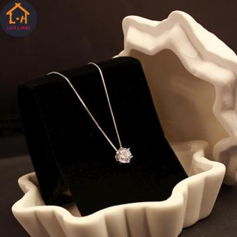 LOVE&HOME Silver Clavicle Chain Zircon Pendant Necklace - 4