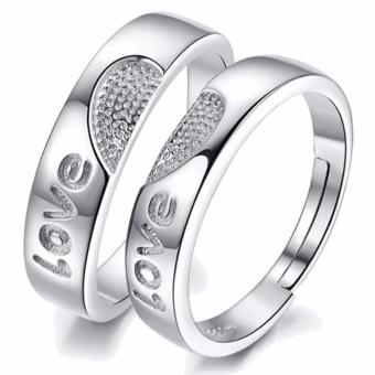 LOVE&HOME Silver Love Heart Couple Rings