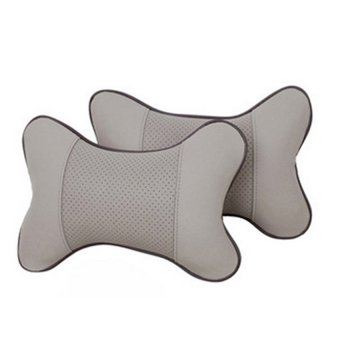 Lovely Breathe Car Auto Head Neck Rest Cushion Headrest Pillow Pad2pcs gray