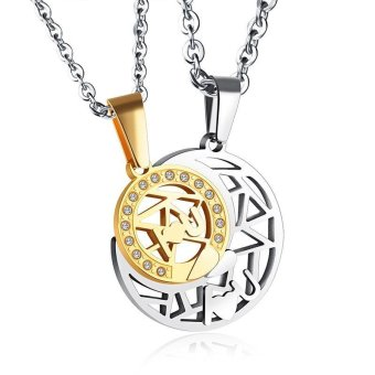Lover Couple Necklace Hollow Out Sun & Moon Crystal Rhinestone Pendant Couples Necklace - intl