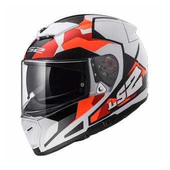 LS2 Full-Face FF390 Sergent Helmet (White/Orange)