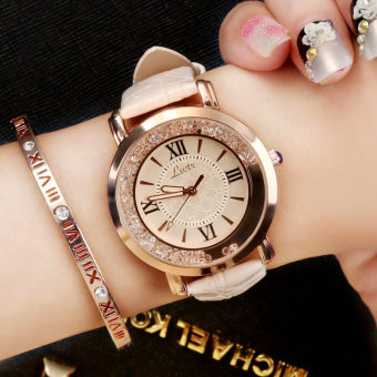 Lsvtr fashion leather belt waterproof quartz watch crystal women's watch