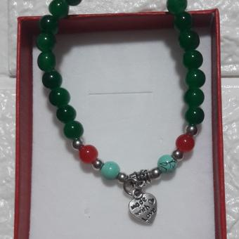 Lucky Charm Bracelet for Love (green) with heart Pendant