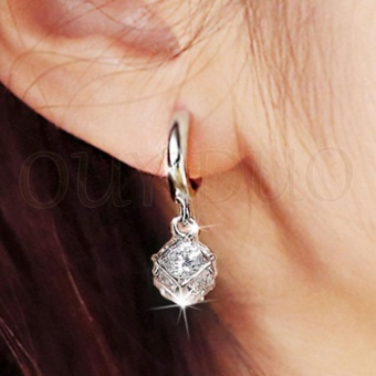 Luxury 925 Sterling Silver Anti Allergy Exquisite Lucky Ball StudEarrings AAA Cubic Zircon Earrings For Women Wedding Birthday PartyGift Fashion Jewelry - intl