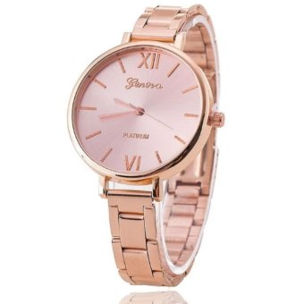 Luxury Brand Women Bracelet Geneva Watch Stainless Steel Wristwatch(Pink)
