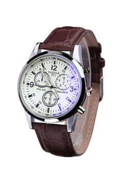 Luxury Faux Leather Blue Ray Glass Quartz Analog Brown Mens Watch