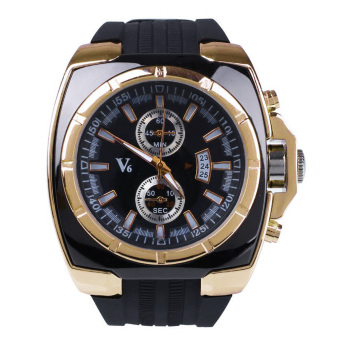 Luxury Men's Business Automatic Silicone Quartz Wrist Watch Sport Black