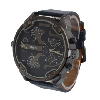 Luxury Military Army Dual Time Quartz Large Dial Wrist Watch OulmBlue