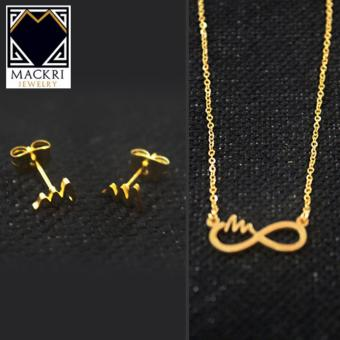 MACKRI Necklace and Earrings Set - Infinite Symbol Infinity Heart Beat Design Price Philippines