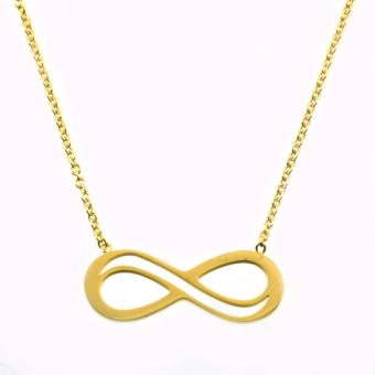 Mackri Unisex Men/Women Jewellery Fashion Infinity Pendant Gold Cable Chain Necklace