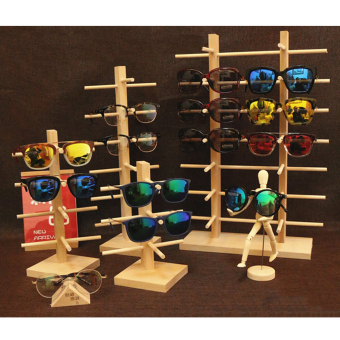 MagiDeal 2-Row 6-Layer Sunglasses Wooden Rack Frame Display Stand Holder - 3