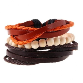 MagiDeal 3 pcs Mens Wood Beads PU Leather Bracelet Surfer Tribal Wristband Adjustable - intl Price Philippines
