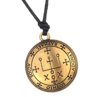 MagiDeal Bronze Sigil of Archangel Amulet Round Pendant Necklace for Women Men Gifts - intl