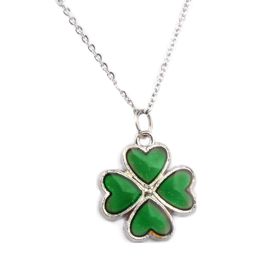 Magideal sensitive crystal thermo mood color change four leaf magideal sensitive crystal thermo mood color change four leaf clover pendant necklace intl lazada ph mozeypictures Image collections
