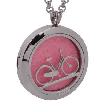MagiDeal Stainless Steel Bike Essential Oil Diffuser Aromatherapy Locket Necklace - intl