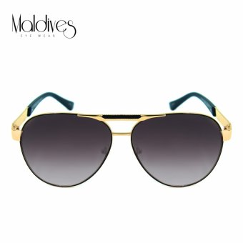 Maldives 2183-Y Tory Modern Men Fashion Aviator with Patterned Browbar Sunglasses (Gradient/Gold Black)