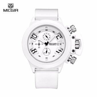 MEGIR 2002 Men Calendar Rubber Sport Quartz Watch Black - intl - 2