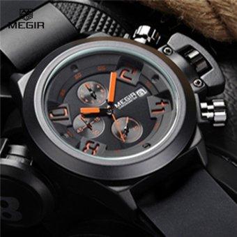 MEGIR 2002 Men Calendar Rubber Sport Quartz Watch Black - intl - 5