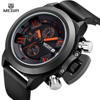 MEGIR 2002 Men Calendar Rubber Sport Quartz Watch Black - intl - 3