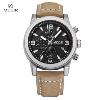 MEGIR Classic Well Made Soft Genuine Leather Analog Quartz Wristwatch 3ATM Water Resistant Man Watch with Sub-dial - intl Price Philippines