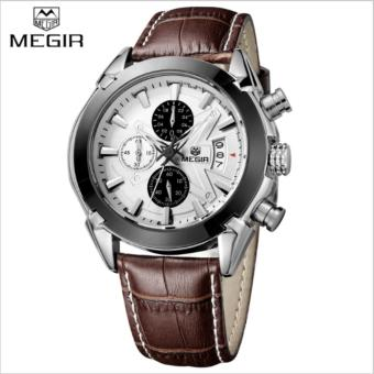 Megir Leather Strap Men's Watch 2020 (Brown)