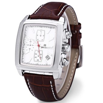 MEGIR M2028 Male Quartz Watch Rectangle Dial with Date Function Sport Wristwatch - intl Price Philippines