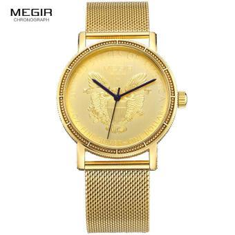Megir Mens Fashion Gold Quartz Wrist Watches Round Dial Stainless Steel Strap Formal Dress Wristwatch for Man 2032 - 2