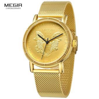 Megir Mens Fashion Gold Quartz Wrist Watches Round Dial Stainless Steel Strap Formal Dress Wristwatch for Man 2032 - 3