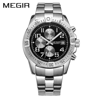 MEGIR MS2030G Top Brand Luxury Men Quartz Watch Fashion StainlessSteel Strap Army Military Watches Big Dial Clock - intl