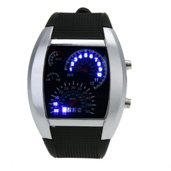 Men Blue White LED Watch Black Rubber Speedometer Digital Watch(Black) - intl