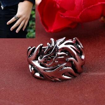 Men Finger Ring Dragon Pattern Punk Goth Ring - intl