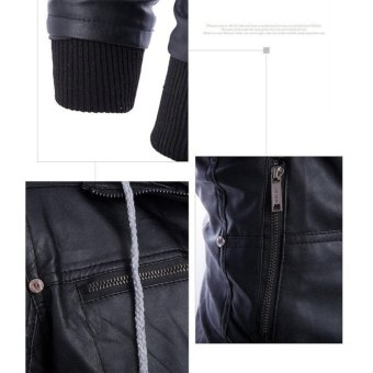 Men Hooded Slim Fake Two-pieces PU Leather Motorcycle Jackets -intl - 2