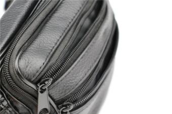 Men Leather Pockets Waist Bag Sports Leisure Waterproof Multi - Functional Business Cashier Male Bag - 3