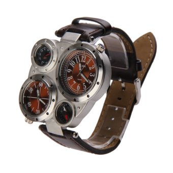Men OULM Military Army Dual Time Zones Big Dial Leather Sports Watch Brown