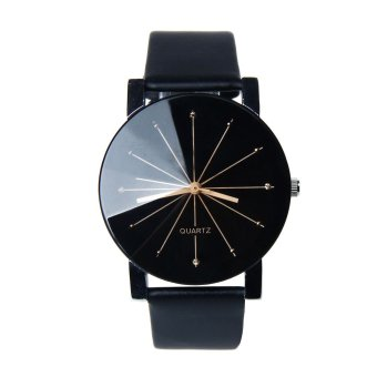 Men Quartz Dial Clock Leather Wrist Watch Black