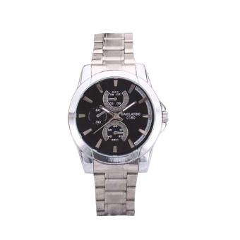 Men Stainless Steel Band Military Sport Quartz Watch (Black)