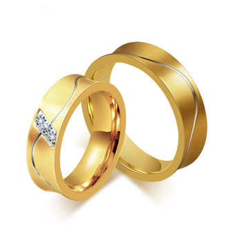 Men Women 6mm Stainless Steel 18k Gold Wedding Ring Cubic Zirconia Engagement Band - intl