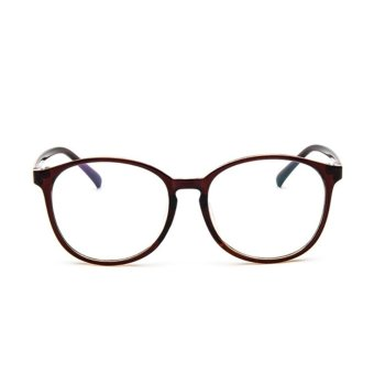 Men Women Clear Plain Lens Oval Plastic Full Frame Glasses Specs Eyeglasses HOT Brown - intl Price Philippines