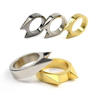 Men Women Stainless Steel Self-defense Product Single Clasp Ring Weapons Ring Cat Ears Shape Survival Ring Tool Po Gold - intl