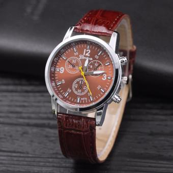 Men's brown Glass Chronograph Style Brown Leather Strap Watch
