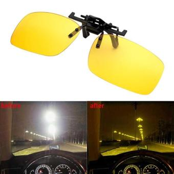 Men's Day Night Vision Clip-on Flip-up Lens Sunglass Practical Driving Glasses Yellow(Size: S) - intl