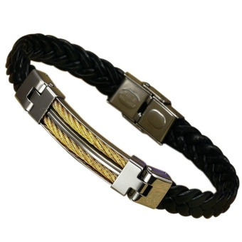 Men's Titanium Steel Leather Bracelet - intl