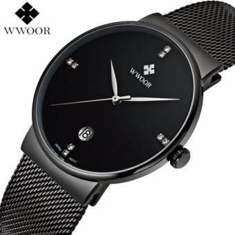 Men's Watches Top Brand Luxury Stainless Steel Mesh Strap Casual Watch Men Ultra Thin Quartz Date Black Clock Male Waterproof Sport Watch - intl